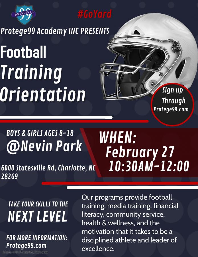 Protege99 Football Training Orientation 2021 Flyer